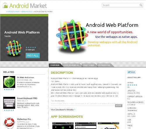pantallazo de android web platform en Android Market